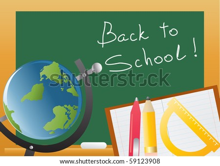 Vector illustration of backboard with globe and educational objects - stock vector