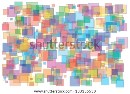 Vector illustration of background made of various color and size transparent squares - stock vector