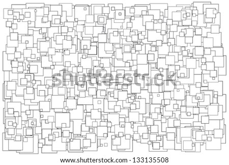 Vector illustration of background made of various size white squares with black border - stock vector