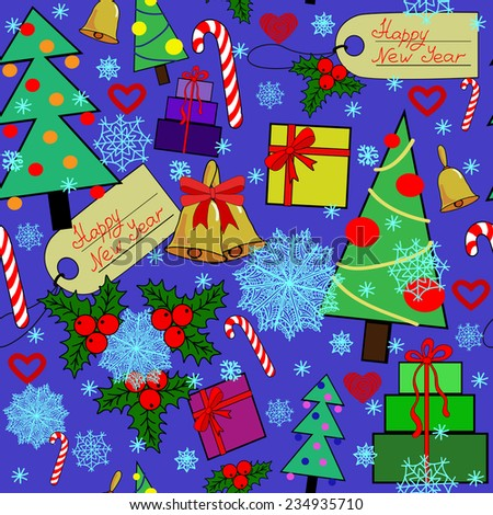 Vector illustration of background with New Year elements