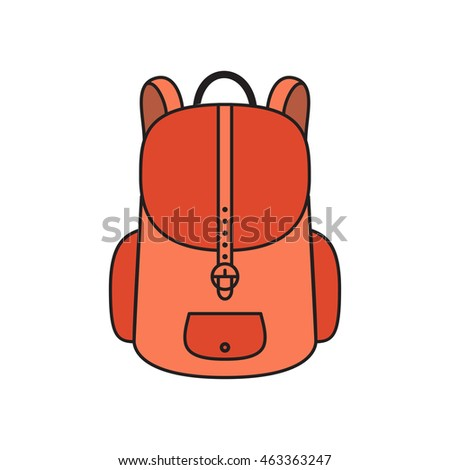 Vector illustration of backpack icon. Colorful school bag. Isolated on white background.