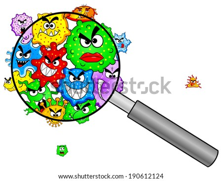 vector illustration of bacteria under a magnifying glass - stock vector