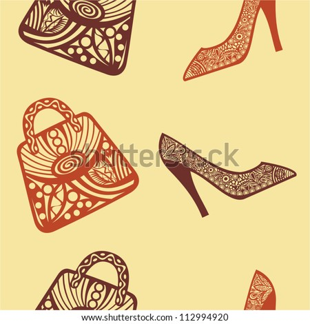 Vector illustration of bag and shoes pattern seamless background - stock vector