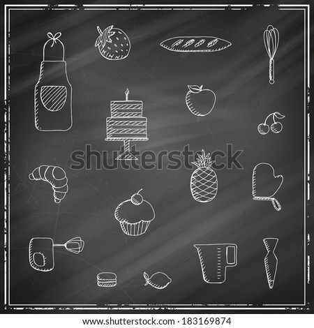 Vector Illustration of Bakery Elements on a Black Chalkboard - stock vector