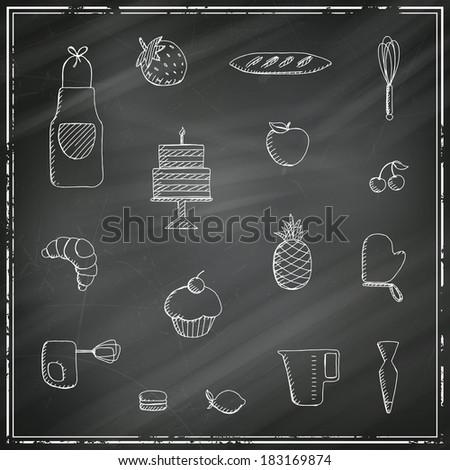 Vector Illustration of Bakery Elements on a Black Chalkboard - stock vector
