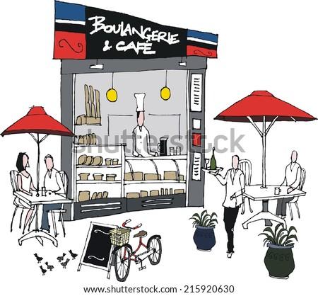 Vector illustration of bakery restaurant scene - stock vector