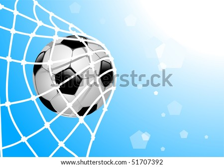 vector illustration of ball in net - stock vector