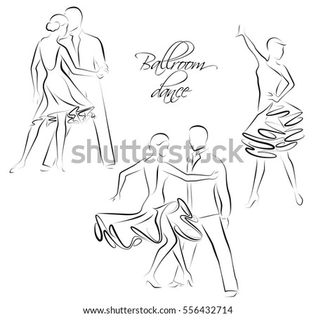 Vector illustration of ballroom dancing couples