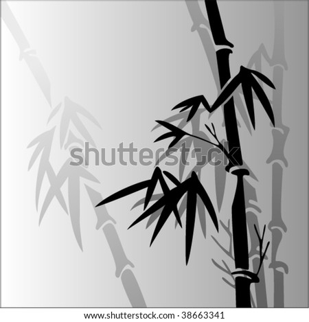 vector illustration of bamboo in a fog - stock vector