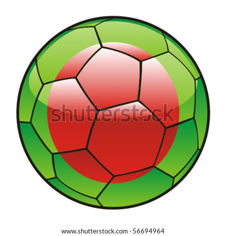 vector illustration of Bangladesh flag on soccer ball - stock vector
