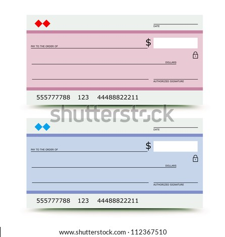 Vector illustration of bank check in two variations -  pink and blue - stock vector