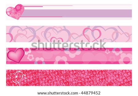 Vector illustration of banners with hearts