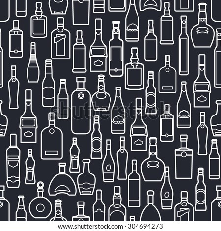 Vector Illustration of Bar Bottle Seamless Pattern Outline for Design, Website, Background, Banner. Alcohol Element for Barman Infographc. Menu or restaurant Element Template. Texture for Wallpaper