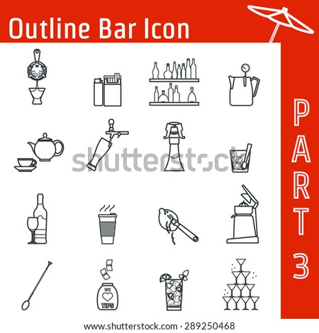 Vector Illustration of Bar Outline Icon for Design, Website, Background, Banner. Silhouette  Element for Alcohol Infographic. Menu Template for Restaurant or Cafe. Barman stuff and inventory - stock vector