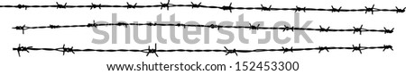 Vector illustration of barbed wire silhouette - stock vector