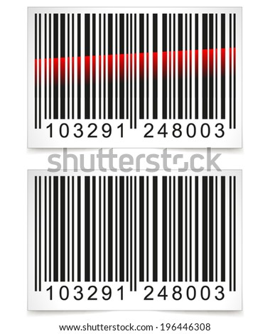 Vector illustration of barcode tag on white background - stock vector