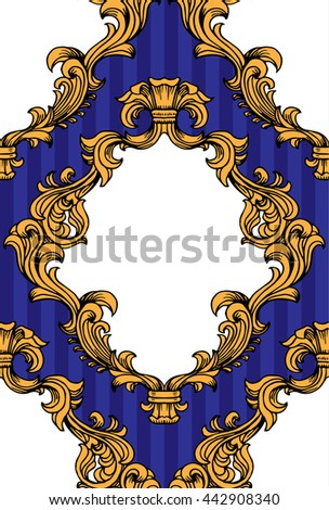 Vector illustration of baroque acanthus leaves frame seamless wallpaper pattern