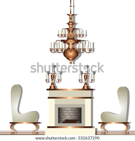 Vector illustration of baroque interior with fireplace, armchairs and golden chandelier - stock vector