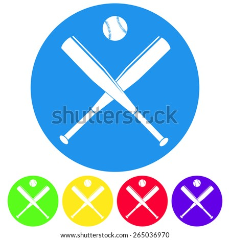 Vector illustration of baseball bats and ball. Flat design colorful style. - stock vector