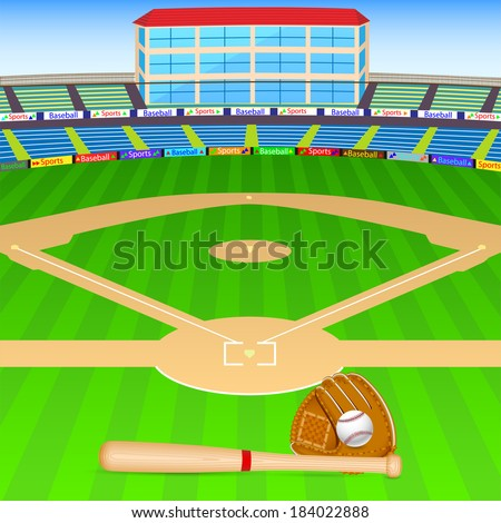 vector illustration of baseball field with bat, ball and gloves - stock vector
