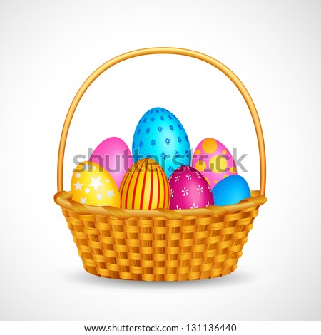 vector illustration of basket full of colorful Easter egg - stock vector