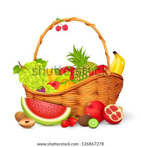 vector illustration of basket full of fresh fruit - stock vector
