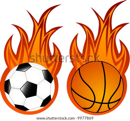 Vector illustration of basketball and soccer balls in flame - stock vector