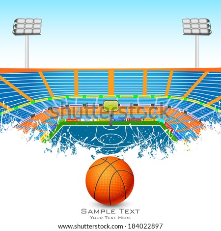 vector illustration of basketball field with ball