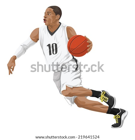 Vector illustration of basketball player in action. - stock vector