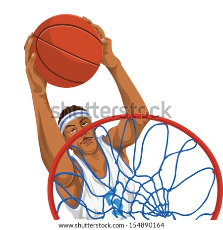 Vector illustration of basketball player throws the ball in basket. - stock vector