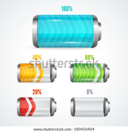 Vector illustration of Battery full level indicator - stock vector