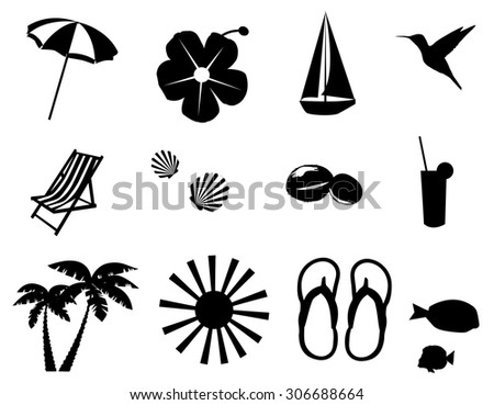 vector illustration of beach icons - stock vector