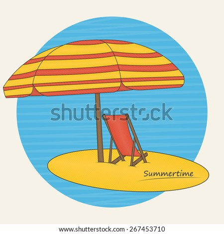 Vector illustration of beach umbrella and deckchair on the beach for your design - stock vector