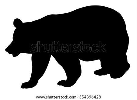 Vector illustration of bear silhouette over white background - stock vector
