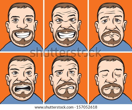 Vector illustration of bearded man faces with various emotions. Easy-edit layered vector EPS10 file scalable to any size without quality loss. High resolution raster JPG file is included. - stock vector