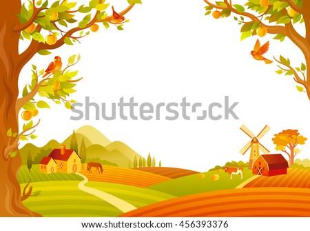 Vector Illustration Beautiful Autumn Landscape On Stock Vector