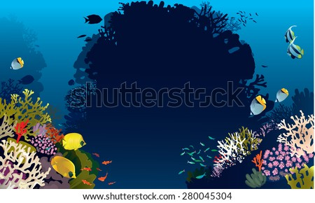 Vector illustration of beautiful banner fish in nature - stock vector