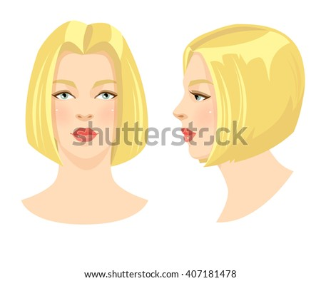 Vector illustration of beautiful blonde girl with bob hairstyle and blue eyes isolated on white background. Face in front. Face in profile. Various turn head. - stock vector