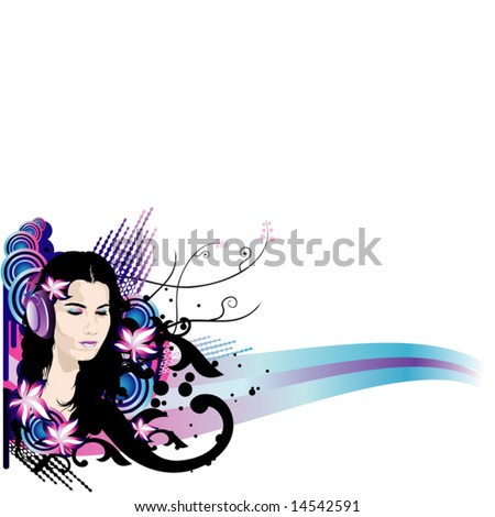 Vector illustration of beautiful brunette girl with long hair and headphones