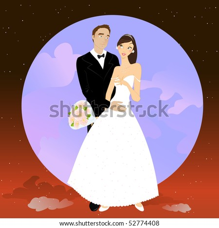Vector illustration of beautiful couple in romantic night on the sky background with Giant full moon