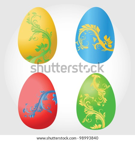 vector illustration of  beautiful easter eggs - stock vector