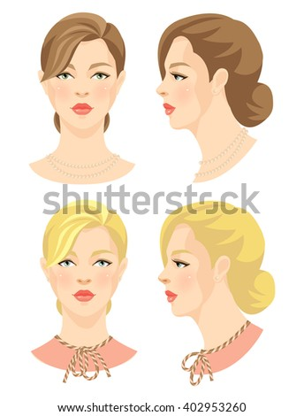 Vector illustration of beautiful girl in retro style isolated on white background. Face in front. Face in profile.  - stock vector