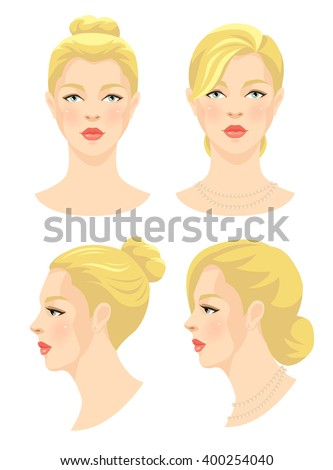 Vector illustration of beautiful girl with blonde hair and blue eyes isolated on white background. Face in front. Face in profile. Different hairstyle. Various turn head. - stock vector