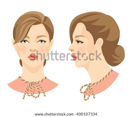 Vector illustration of beautiful girl with brown hair and blue eyes in retro style isolated on white background. Face in front. Face in profile.  - stock vector
