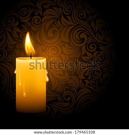 Vector illustration of beautiful glowing candle with melted wax on ornate dark background - stock vector