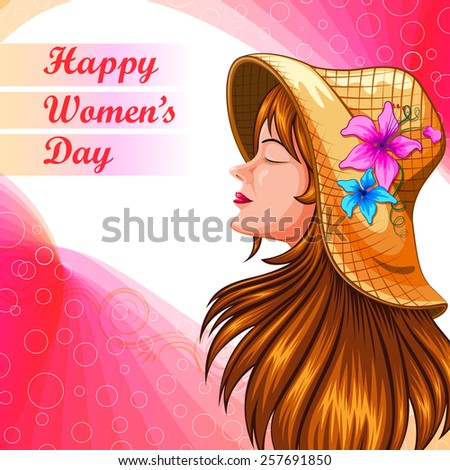 vector illustration of beautiful lady in Happy Women's Day