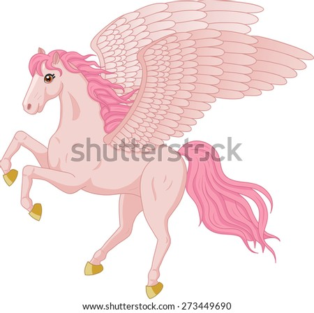 Vector illustration of beautiful pink Pegasus - stock vector