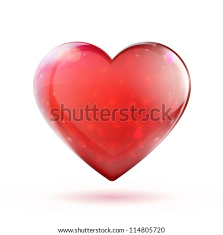 Vector illustration of beautiful red glossy heart shape - stock vector