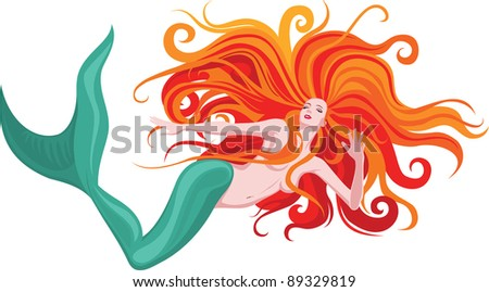 Vector illustration of beautiful red-haired mermaid - stock vector