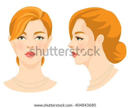 Vector illustration of beautiful redhead girl with green eyes isolated on white background. Face in front. Face in profile. Various turn head. - stock vector